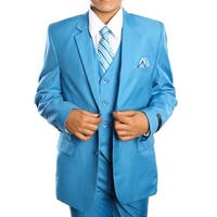 Boys Suit French Blue Solid 5 Pieces Classic Fit Suits