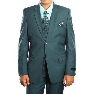 Boys Suit Nile Green Solid 5 Pieces Classic Fit Suits