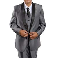 Boys Suit Grey Black Satin Shawl Collar 5 Pieces Classic Fit Suits