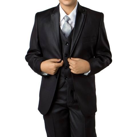 Boys Suit Black Pattern Peak Lapel 5 Pieces Classic Fit Suits