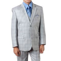 Boys Suit Light Grey Windowpane 5 Pieces Classic Fit Suits