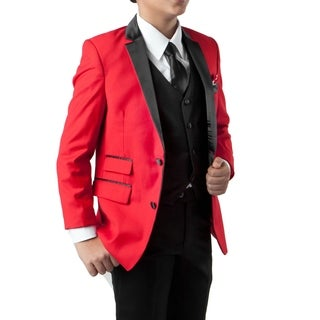 Boys Suit Red Black Satin Notch Lapel 5 Pieces Ticket Pocket Suits