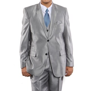 Boys Suit Silver Sharkskin Ticket Pocket 5 Pieces Classic Fit Suits