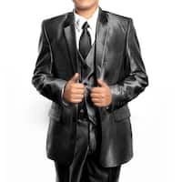 Boys Suit Black Sharkskin Ticket Pocket 5 Pieces Classic Fit Suits
