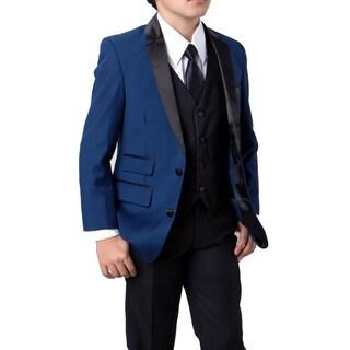 Boys Suit Blue Black  Satin Notch Lapel 5 Pieces Ticket Pocket Suits