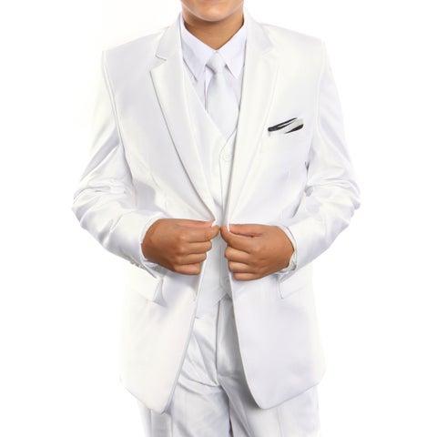 Boys Suit Off White Sharkskin Notch Lapel 5 Pieces Classic Fit Suits