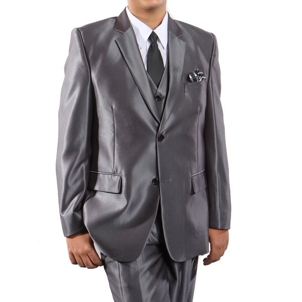 Boys Suit Dark Grey Sharkskin Notch Lapel 5 Pieces Classic Fit Suits
