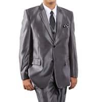 Boys Suit Dark Grey Sharkskin Notch Lapel 5 Pieces Classic Fit Suits