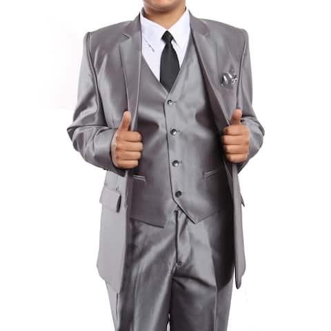 Boys Suit Silver Sharkskin Notch Lapel 5 Pieces Classic Fit Suits