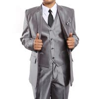 Boys Suit Silver Sharkskin Notch Lapel 5 Pieces Classic Fit Suits