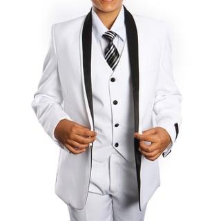 Boys Suit White Black Shawl Collar 5 Pieces Classic Fit Suits