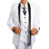 Boys Suit White Black Shawl Collar 5 Pieces Classic Fit Suits