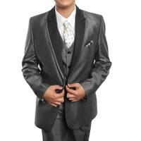 Boys Suit Grey Peak Lapel Ticket Pocket 5 Pieces Classic Fit Suits