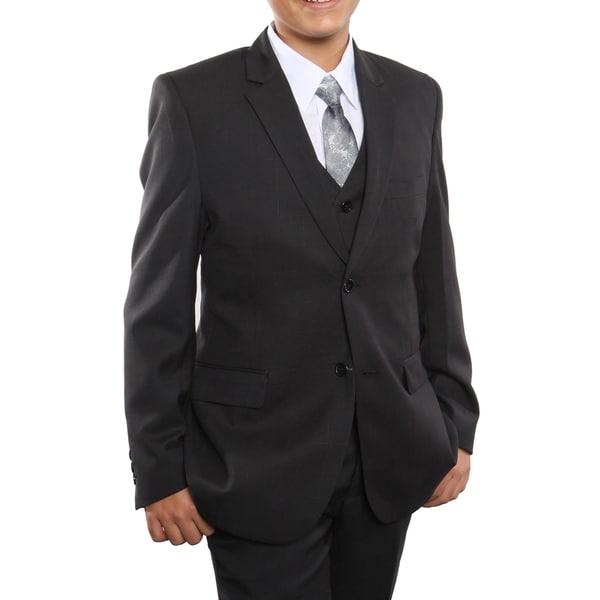 Boys Suit Black Windowpane 5 Pieces Classic Fit Suits
