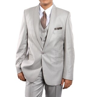 Boys Suit Earth Tan Shawl Collar 1 Button 5 Pieces Classic Fit Suits