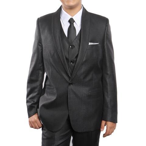 Boys Suit Black Shawl Collar 1 Button 5 Pieces Classic Fit Suits