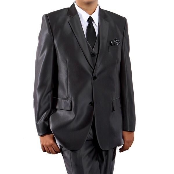 Boys Suit Black Sharkskin Notch Lapel 5 Pieces Classic Fit Suits