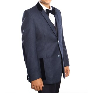 Boys Suit Navy Pocket and Elbow Patch 5 Pieces Classic Fit Suits