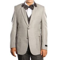 Boys Suit Grey Pocket and Elbow Patch 5 Pieces Classic Fit Suits
