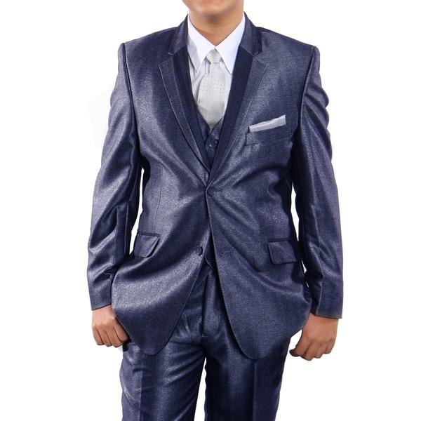 Boys Suit Blue Shiny Two Tone Notch Lapel 5 Pieces Classic Fit Suits