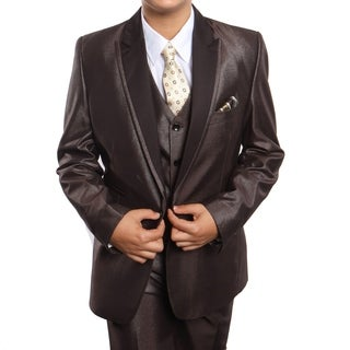 Boys Suit Brown Peak Lapel Ticket Pocket 5 Pieces Classic Fit Suits