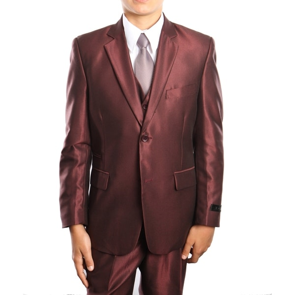 Boys Suit Burgundy Sharkskin Ticket Pocket 5 Pieces Classic Fit Suits