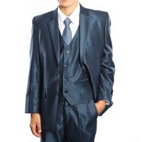 Boys Suit Blue Sharkskin Ticket Pocket 5 Pieces Classic Fit Suits