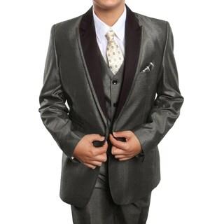 Boys Suit Taupe Peak Lapel Ticket Pocket 5 Pieces Classic Fit Suits