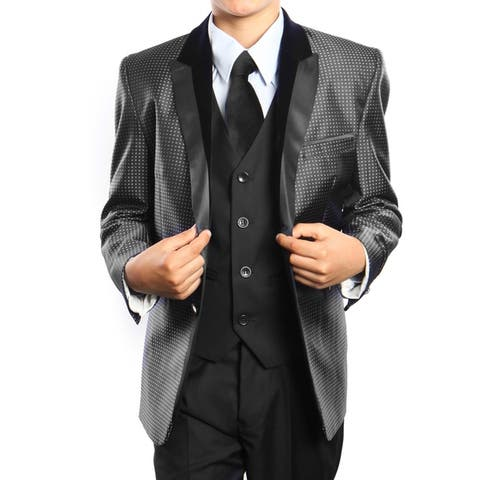 Boys Suit Black High Fashion Notch Lapel 5 Pieces Classic Fit Suits
