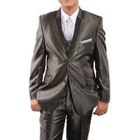 Boys Suit Taupe Shiny  Two Tone Notch Lapel 5 Pieces Classic Fit Suits