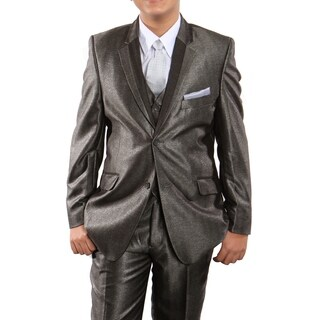 Boys Suit Taupe Shiny Two Tone Notch Lapel 5 Pieces Classic Fit Suits