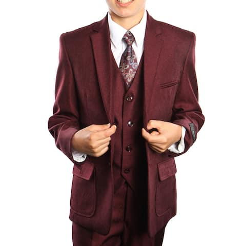 Boys Suit Burgundy 2 Buttons Patch Pocket 5 Pieces Classic Fit Suits