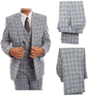 Boys Suit Grey 2 Button Plaid 5 Pieces Classic Fit Suits