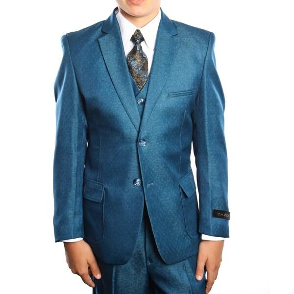 Boys Suit Blue 2 Buttons Patch Pocket 5 Pieces Classic Fit Suits