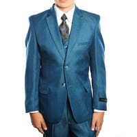 Boys Suit Blue 2 Buttons Patch Pocket 5 Pieces Classic Fit Suits