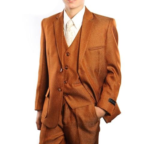 Boys Suit Rust 2 Buttons Patch Pocket 5 Pieces Classic Fit Suits