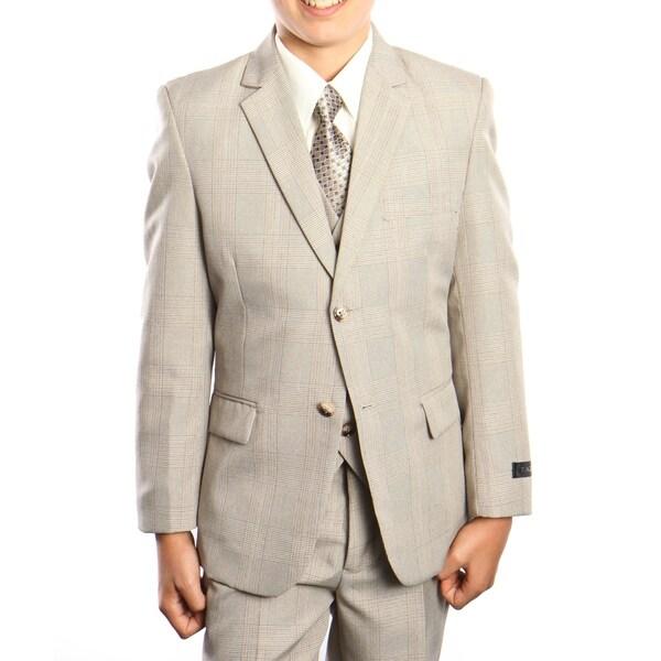 Boys Suit Tan Glen Plaid Notch Lapel 5 Pieces Classic Fit Suits