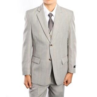 Boys Suit Sand Glen Plaid Notch Lapel 5 Pieces Classic Fit Suits