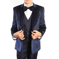 Boys Suit Navy Velvet Jacket Notch Lapel 5 Pieces Classic Fit Suit