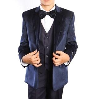 Boys Suit Navy Velvet Jacket Notch Lapel 5 Pieces Classic Fit Suit