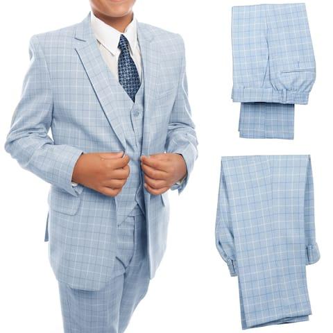 Boys Suit Sky Blue 2 Button Plaid 5 Pieces Classic Fit Suits