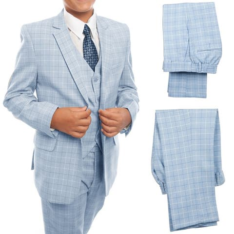 Boys Suit Sky Blue 2 Button Plaid 5 Pieces Classic Fit Suits