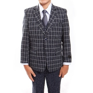 Boys Suit Navy White Plaid Jacket Notch Lapel 5 Pieces Classic Fit Suits