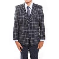 Boys Suit Navy White Plaid Jacket Notch Lapel 5 Pieces Classic Fit Suits