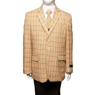 Boys Suit Gold Black Plaid Jacket Notch Lapel 5 Pieces Classic Fit Suits