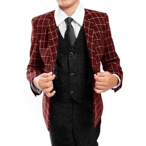 Boys Suit Red Black Plaid Jacket Notch Lapel 5 Pieces Classic Fit Suits