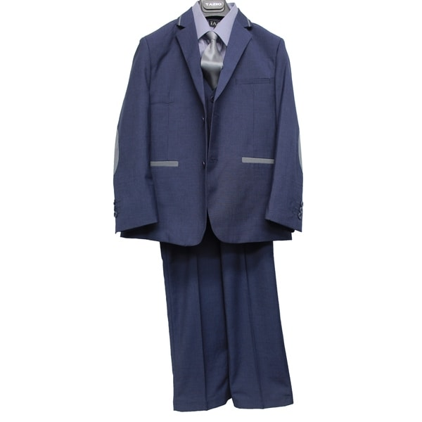 Boys Suit Blue Elbow Patch Notch Lapel 5 Pieces Classic Fit Suits