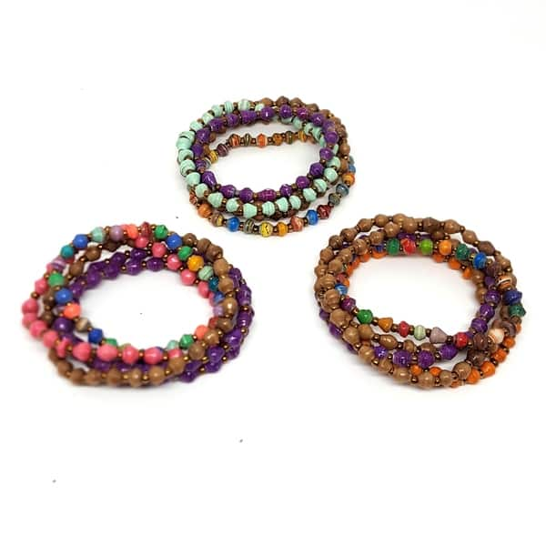 Handmade Paper Bead Set Of 5 Multicolor