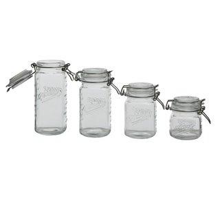 4pc Mason Glass Mini Clamp Jar Set