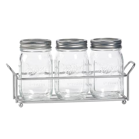 4pc Mason Glass Flatware Caddy